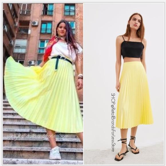 Zara Yellow Satin Midi Skirt Size S M L